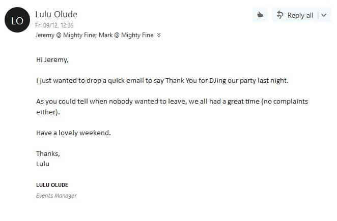 Corporate event DJ London client review