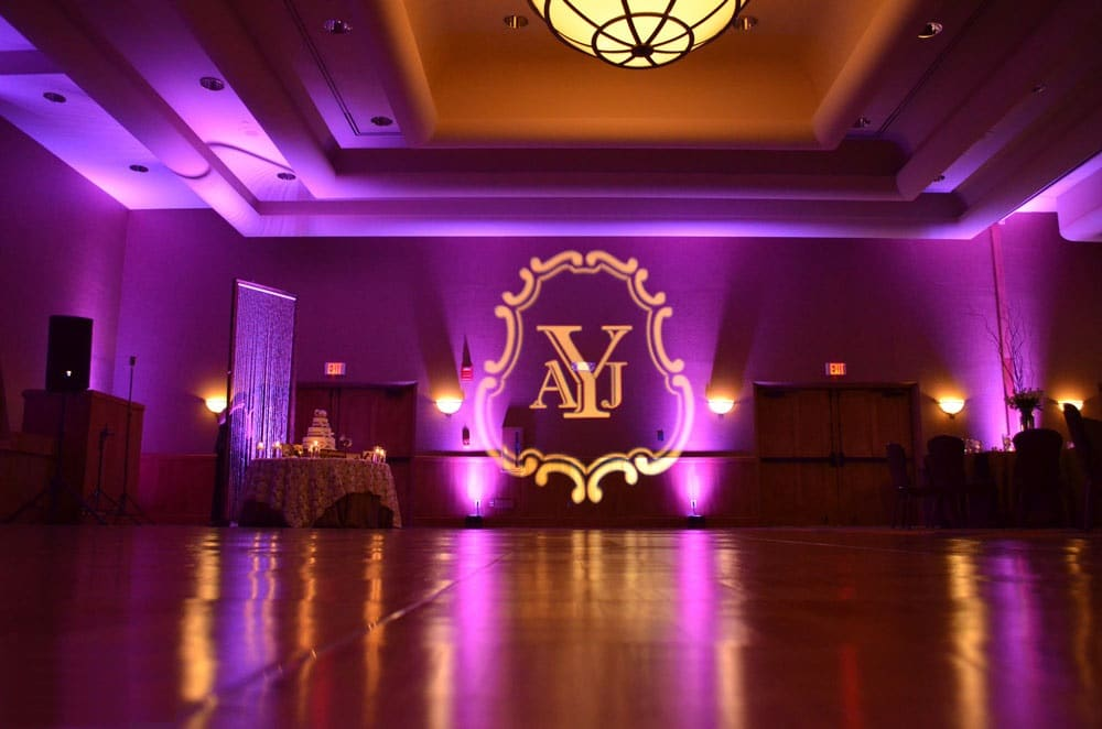 wedding DJ sussex London monogram image projection